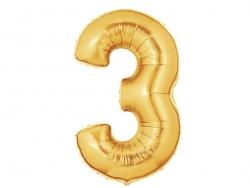 1 goldfarbener Zahlenballon (40 cm) - Zahl 3