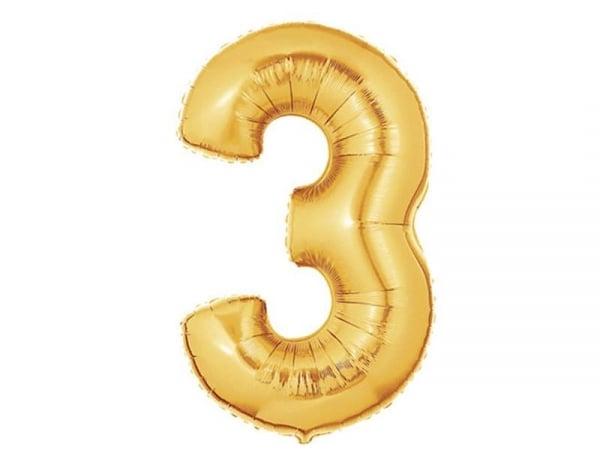 1 golden number balloon (40 cm) - number 3