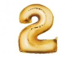 1 goldfarbener Zahlenballon (40 cm) - Zahl 2