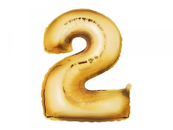 1 golden number balloon (40 cm) - number 2