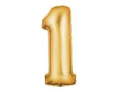 1 goldfarbener Zahlenballon (40 cm) - Zahl 1