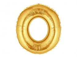 1 goldfarbener Zahlenballon (40 cm) - Zahl 0