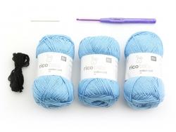 Häkelkit - ein blauer Hase für Babys