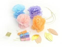 Guirlande de 8 fleurs en papier de soie - couleurs pastel Talking tables - 1