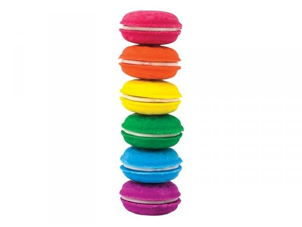 Set of 6 macaron-shaped erasers - Vanilla scent