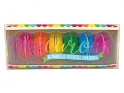 Set of 6 macaron-shaped erasers - Vanilla scent
