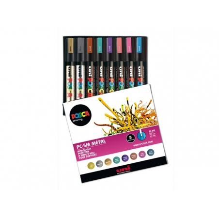 Box with 8 POSCA markers - medium-sized tip (2.5 mm) - metallic colours