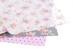 Papier décopatch - fleuri gris