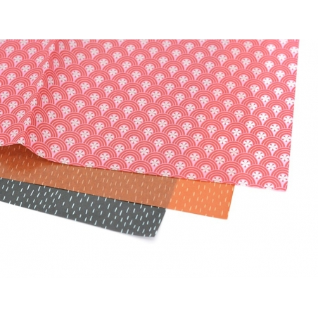 Décopatch paper - Japanese design, pink and red