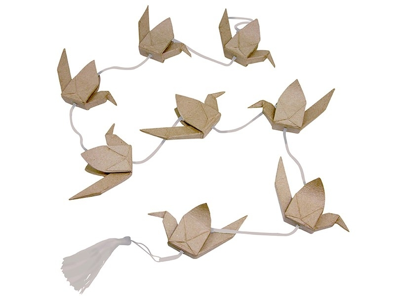 Garland with Japanese cranes - papier mâché, customisable