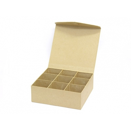 Boîte aimantée 9 compartiments - papier mâché à customiser