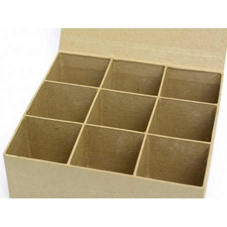 Box with (magnetic) snap shut and 9 compartments - papier mâché, customisable