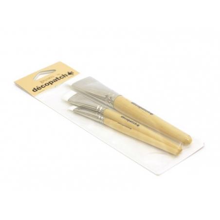 3 pinceaux à colle en nylon - n°10-17-30 Décopatch - 2