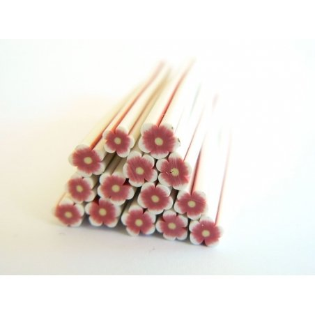 Flower cane - white and ruby coloured