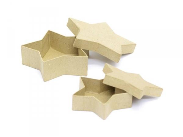 2 boîtes étoiles - papier mâché à customiser