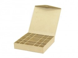 Box with (magnetic) snap shut and 25 compartments - papier-mâché, customisable