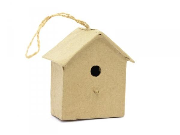 Mini nichoir d'oiseau à suspendre - maison  - papier mâché à customiser Décopatch - 1