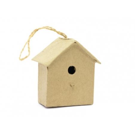Mini nichoir d'oiseau à suspendre - maison  - papier mâché à customiser