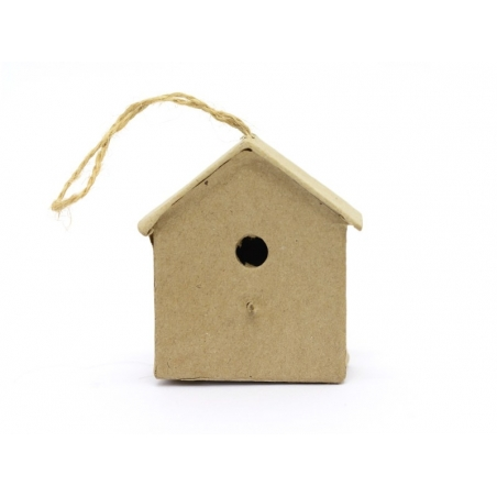 Mini nichoir d'oiseau à suspendre - maison  - papier mâché à customiser Décopatch - 3