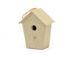 Mini nichoir d'oiseau à suspendre - maisonnette  - papier mâché à customiser Décopatch - 1