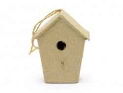 Mini nichoir d'oiseau à suspendre - maisonnette  - papier mâché à customiser