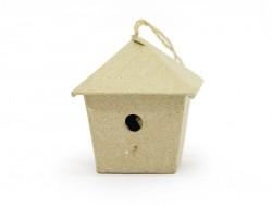 Kleines Vogelhaus zum Aufhängen - viereckig - aus Pappmaschee, zur individuellen Gestaltung