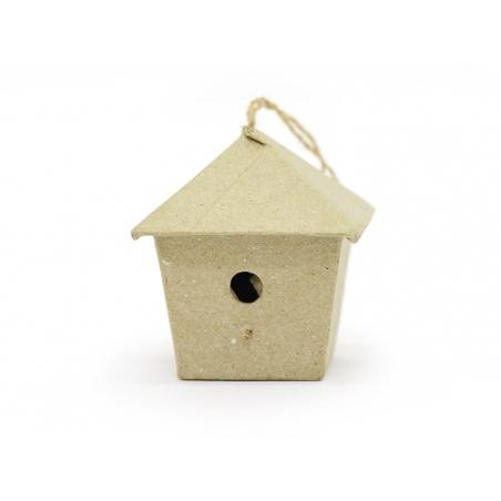Mini nichoir d'oiseau à suspendre - carré  - papier mâché à customiser
