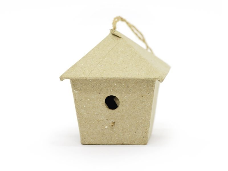 Small birdhouse that can be hung on a wall - square - papier mâché, customisable