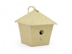 Kleines Vogelhaus zum Aufhängen - viereckig - Pappmaschee zur individuellen Gestaltung