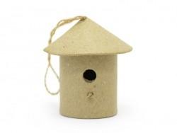 Kleines Vogelhaus zum Aufhängen - rund - aus Pappmachschee, zur individuellen Gestaltung
