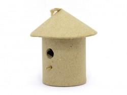Mini nichoir d'oiseau à suspendre - rond  - papier mâché à customiser