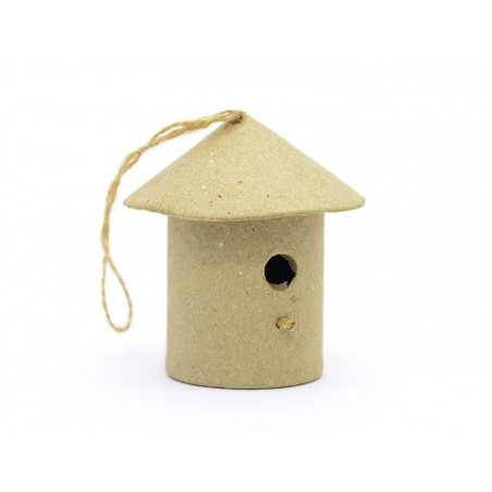 Small birdhouse that can be hung on a wall - round - papier mâché, customisable