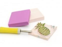 Gomme à graver pour tampons - rose pâle