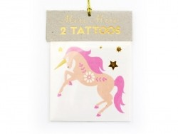 2 tattoos - a unicorn and a rainbow