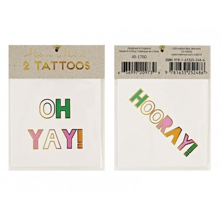 2 Tatouages écritures - hooray! oh yay!