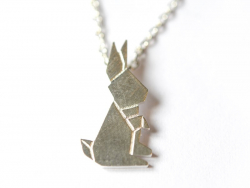Collier fin lapin origami -  argenté