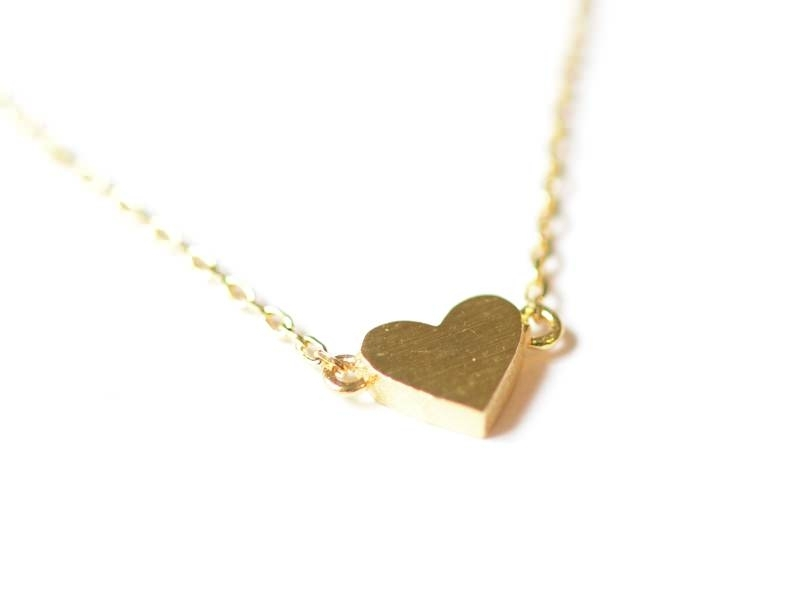 Delicate heart necklace - gold-coloured