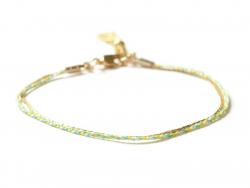 Sehr zartes Armband - dreireihig - grün