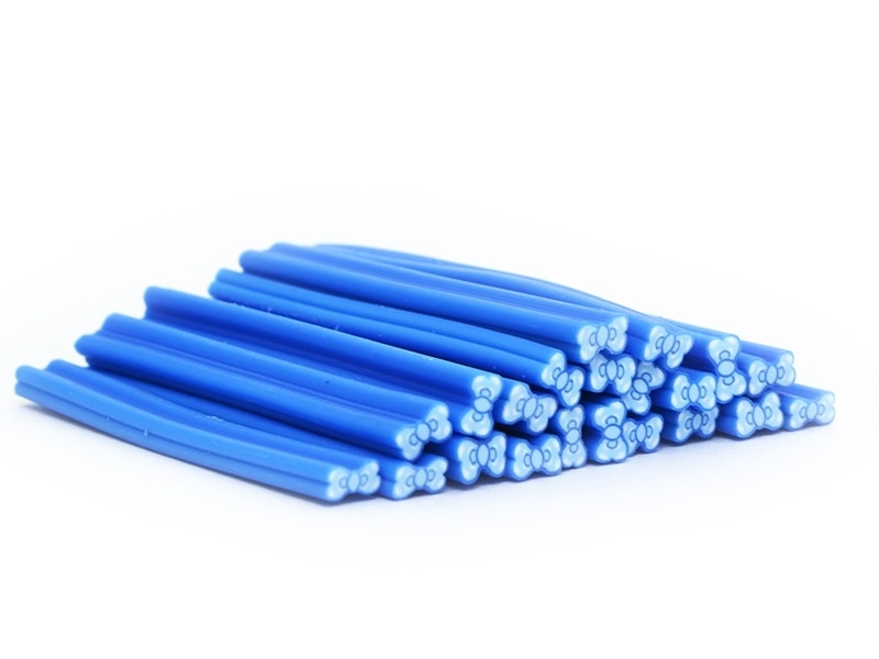 Bow cane - blue with polka-dots