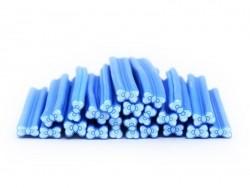 Cane noeud bleu à pois  en pâte polymère