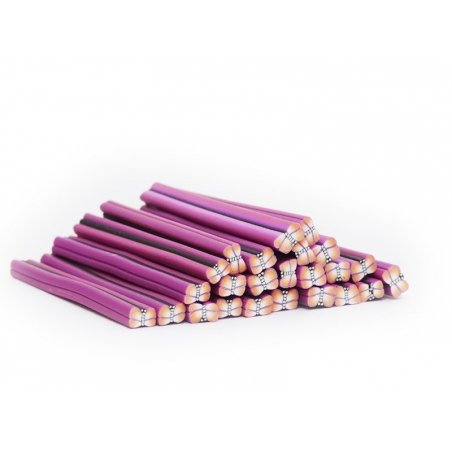 Cane papillon rose et violet en pâte polymère  - 2