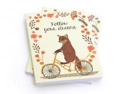 "Notebook ""Happy animals on bike"" - Fox"