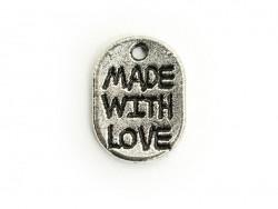 "1 ""Made with Love""-Anhänger - dunkelsilber"