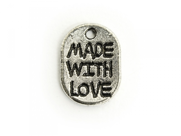 """1 """"Made with Love"""" charm - dark silver-coloured"""