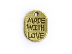 "1 Breloque ""Made with love""- bronze"