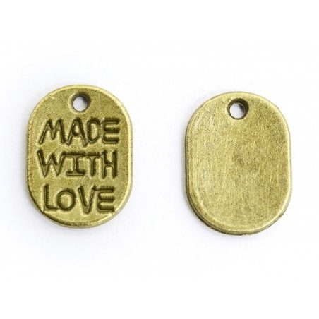 """1 """"Made with Love"""" charm - bronze"""