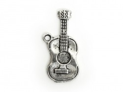 1 Breloque guitare classique - argentée  - 1