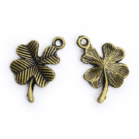1 four-leaf clover charm - bronze-coloured