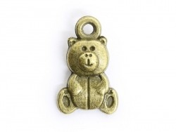 1 teddy bear charm - bronze-coloured