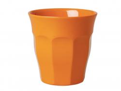 Glas/Becher aus Melamin - orange - mittelgroß